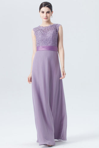 Violet A-Line Embroidered Chifon Bridesmaid Dress With Sash