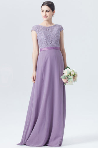 Violet Guipure Cap-Sleeved Lace Chiffon Bridesmaid Dress