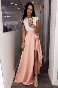 White and Champagne Cap Sleeves Jewel Neck High-low A-line Evening Prom Dress