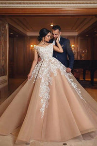 White And Champagne Lace Off-The-Shoulder V Neckline Tulle Wedding Gown