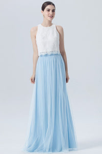 White-Blue Two-Piece A-Line Bridesmaid Dress