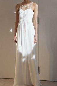 White Sweetheart Open-Back Column Long Dress With Dainty Beaded Straps