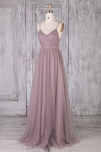 Wisteria Tulle Spaghetti Strap Sweep Train Bridesmaid Dress With Lace