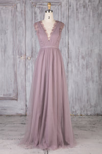 Wisteria Tulle V-Neck Sweep Train Bridesmaid Dress With Lace