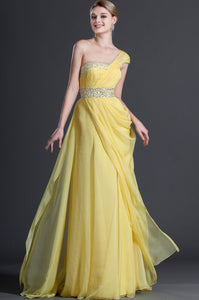 Yellow Chiffon Floor-Length Long Dress With Single Shoulder Design