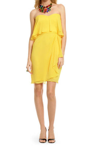 Yellow Chiffon Strapless Sweetheart Neckline Knee Length Bridesmaid Dress