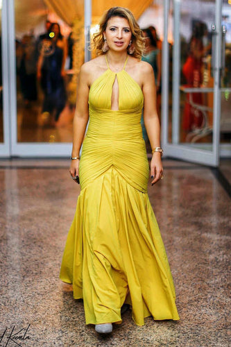 Yellow Halter Ruched Body-Hugging Floor-Length Long Dress