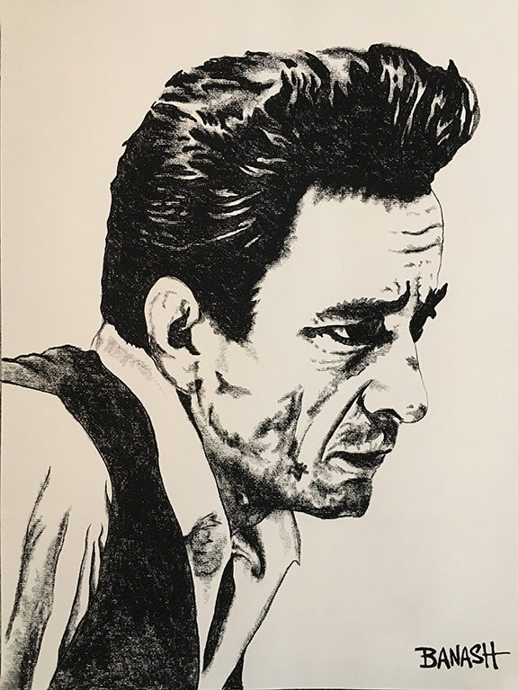 JOHNNY CASH ~ UNCHAINED ~ ORIGINAL CHARCOAL ~ 18x24