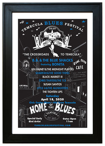 TEMECULA BLUES FESTIVAL ~ 2020 ~ BLACK FRAMED PRINT ~ 12x18