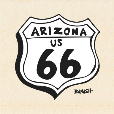 ROUTE 66 ~ ARIZONA US 66 ~ BIRCH WOOD PRINT ~ 6x6