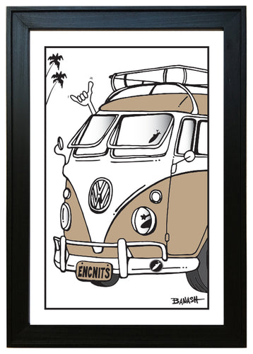ENCINITAS ~ CALIF STYLE VW BUS ~ 12x18