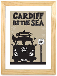 CARDIFF ~ BUS ~ SHKA SOL ~ SIGNED MAT ~ NATURAL FRAME ~ 16x20
