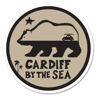 CARDIFF BY THE SEA ~ CALIF BEAR ~ SURF BUG ~ STICKER ~ 3