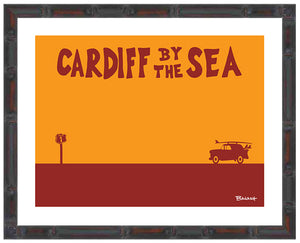 CARDIFF BY THE SEA ~ CATCH A SURF ~ BAMBOO FRAMED PRINT ~ 11x14