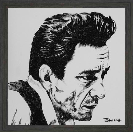 HWY101BLUES ~ JOHNNY CASH ~ UNCHAINED ~ BLACK FRAMED PRINT ~ 8x8