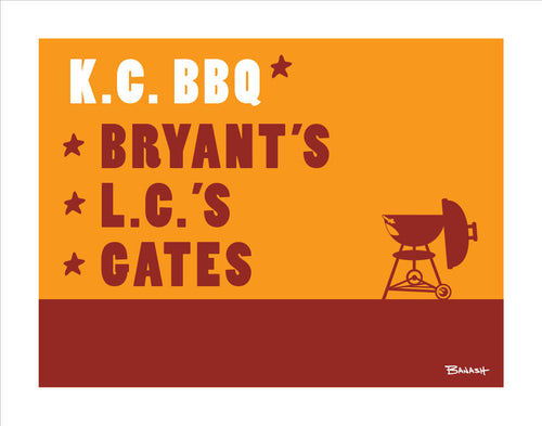KANSAS CITY ~ CATCH A GRILL ~ KC BBQ ~ PRINT ~ 11x14