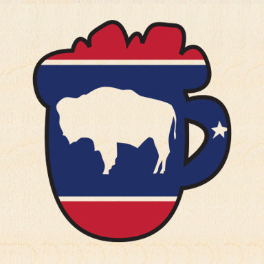 JACKSON HOLE ~ BUFFALO ~ COL BEER MUG OUTLINE ~ 6x6