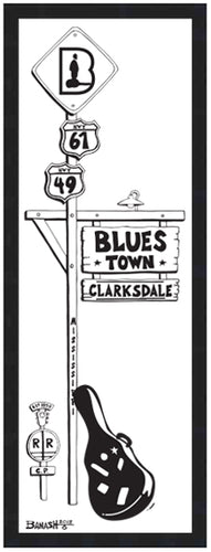 CLARKSDALE ~ BLUES TOWN ~ BLACK FRAMED PRINT ~ 8x24