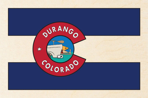 DURANGO ~ TAILGATE KAYAK GREM ~ CO FLAG ~ 12x18