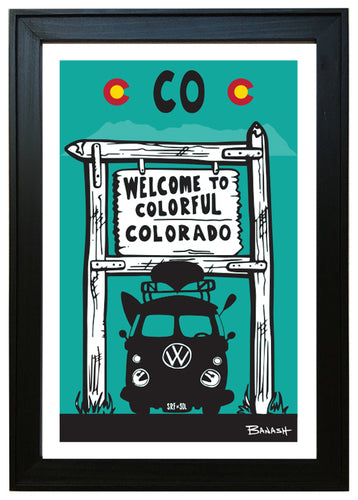 WELCOME TO COLORADO ~ RIVER RIDE VW BUS ~ 12x18