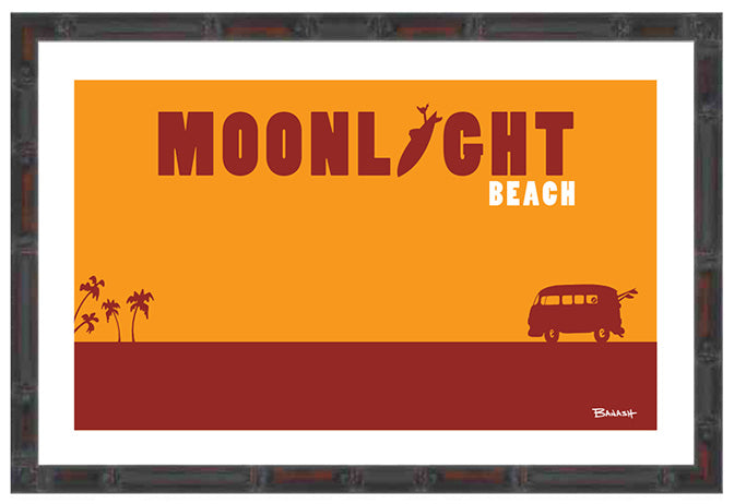 ENCINITAS ~ CATCH A SURF ~ MOONLIGHT BEACH ~ BAMBOO FRAMED PRINT ~ 11x17