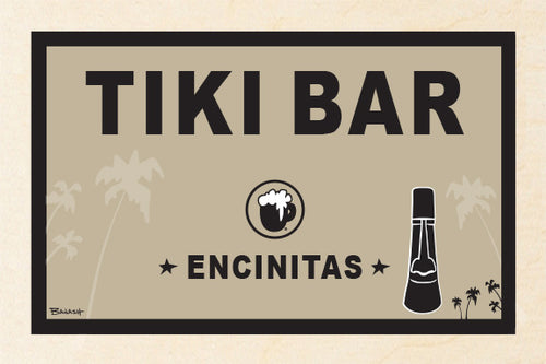 ENCINITAS ~ TIKI BAR ~ BIRCH WOOD PRINT ~ 12x18