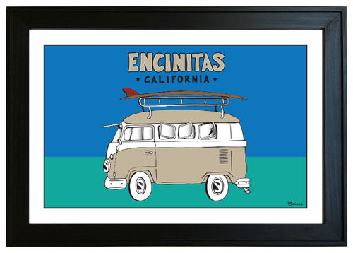 ENCINITAS ~ CALIF STYLE SURF BUS ~ 12x18