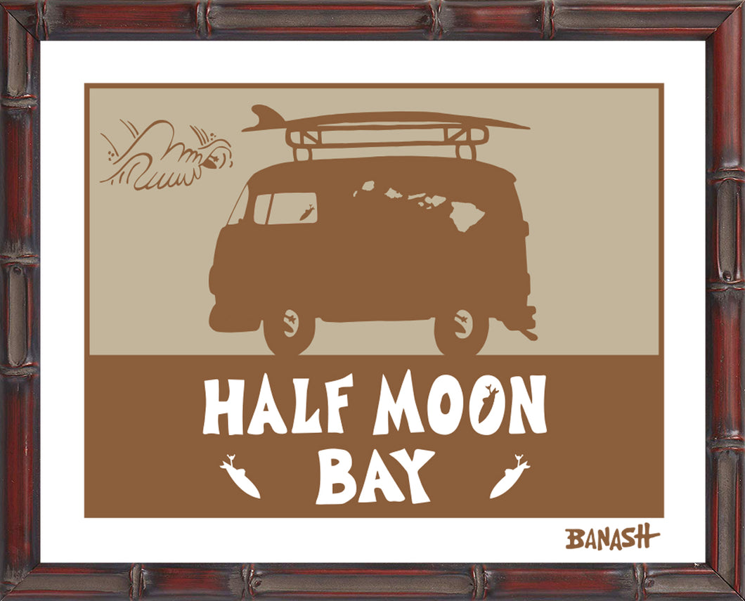 HALF MOON BAY ~ CATCH SAND ~ BUS ~ BAMBOO FRAME