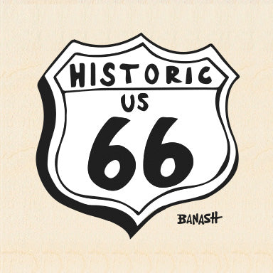 ROUTE 66 ~ HISTORIC US 66 ~ BIRCH WOOD PRINT ~ 6x6