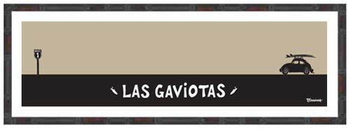 LAS GAVIOTAS ~ CATCH A SURF ~ BAJA CALIFORNIA ~ BAMBOO FRAMED PRINT ~ 8x24