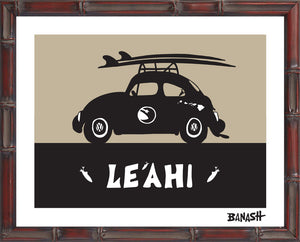 OAHU ~ CATCH A SURF ~ LEAHI ~ BUG ~ BLACK N TAN ~ BAMBOO FRAME