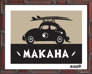 OAHU ~ CATCH SAND ~ MAKAHA ~ BUG ~ BLACK N TAN ~ BAMBOO FRAME