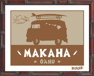 OAHU ~ CATCH SAND ~ MAKAHA ~ BUS ~ BAMBOO FRAME