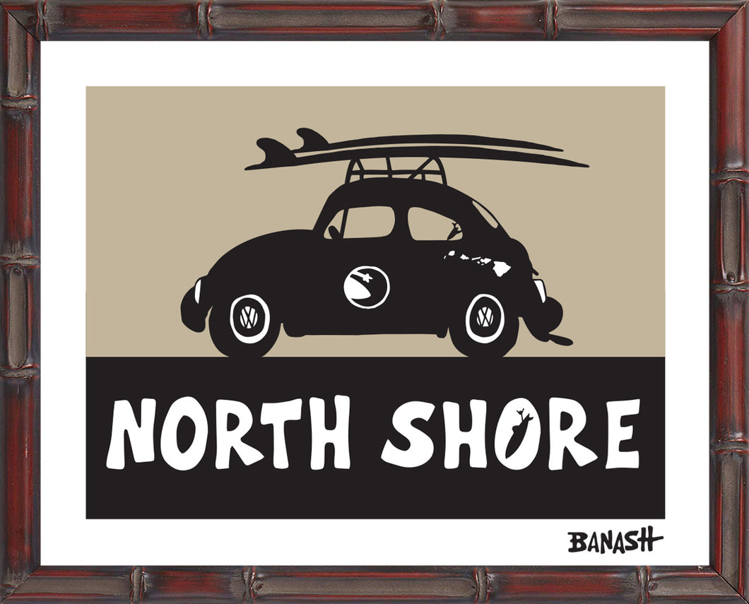 OAHU ~ CATCH A SURF ~ NORTH SHORE ~ BUG ~ BLACK N TAN ~ BAMBOO FRAME
