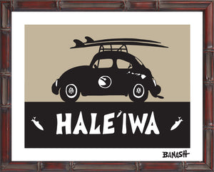 OAHU ~ CATCH A SURF ~ HALEIWA ~ BUG ~ BLACK N TAN ~ BAMBOO FRAME