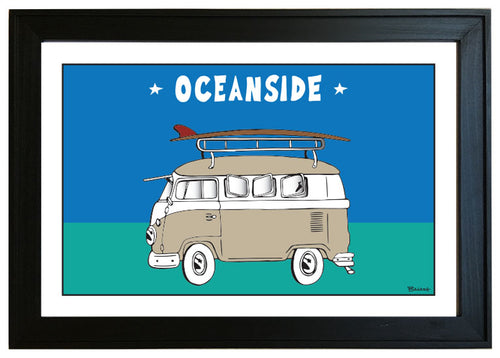 OCEANSIDE ~ CALIF STYLE SURF BUS ~ 12x18