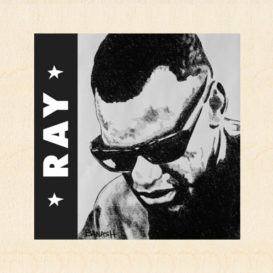 HWY101BLUES ~ RAY CHARLES ~ RAY MODE ~ BIRCH WOOD PRINT ~ 6x6