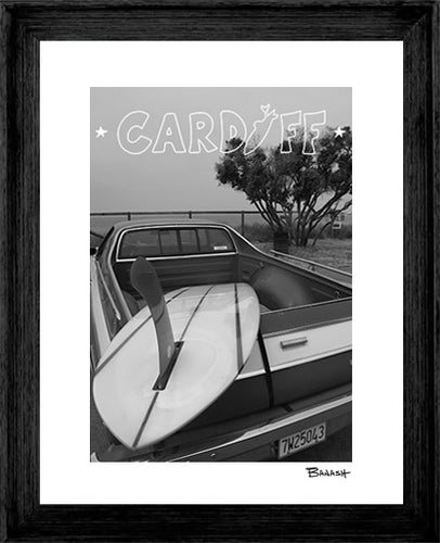 CARDIFF BY THE SEA ~ RED FIN ~ LOOSE ~ BLACK FRAMED PRINT ~ 16x20
