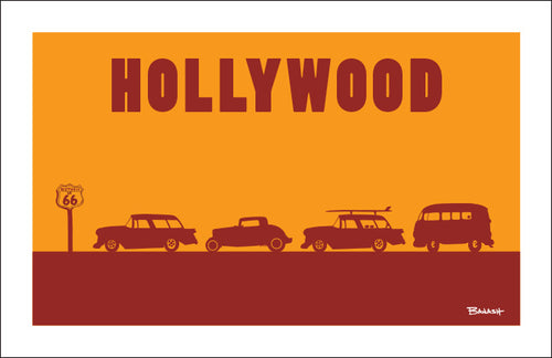 ROUTE 66 ~ HOLLYWOOD ~ ROW OF HOT RODS ~ BLACK FRAMED PRINT ~ 12x18