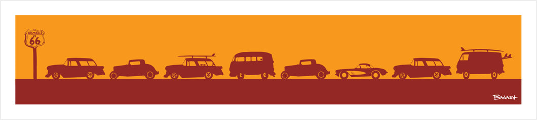 ROUTE 66 ~ HOT RODS ~ PRINT ~ 8x36