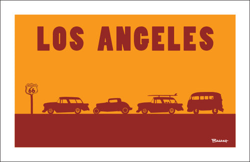 ROUTE 66 ~ LOS ANGELES ~ ROW OF HOT RODS ~ BLACK FRAMED PRINT ~ 12x18