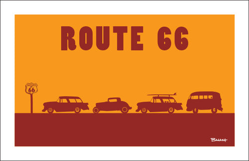 ROUTE 66 ~ ROW OF HOT RODS ~ BLACK FRAMED PRINT ~ 12x18