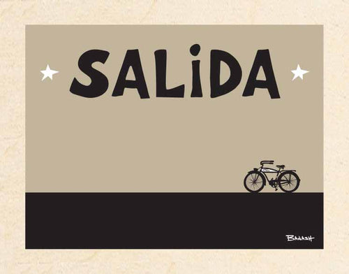 SALIDA ~ CATCH A RIDE ~ BLACK N TAN ~ BIRCH WOOD PRINT ~ 11x14