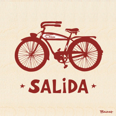 SALIDA ~ SCHWINN BICYCLE ~ BIRCH WOOD PRINT ~ 6x6