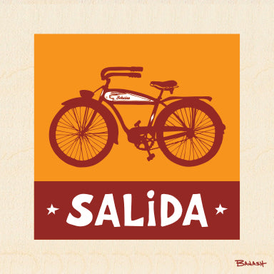 SALIDA ~ SCHWINN BICYCLE ~ SUNDOWN ~ BIRCH WOOD PRINT ~ 6x6