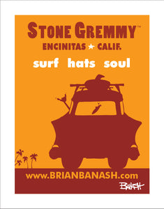 STONE GREMMY BRAND ~ CALIF. BEAR ~ VW BUG ~ HAT