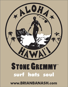 STONE GREMMY BRAND ~ BE GREM ~ STACKED ~ HAWAII ~ WHITE ~ HAT