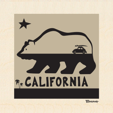 CALIFORNIA ~ BEAR ~ SURF BUG ~ 6x6