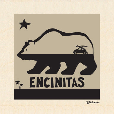 ENCINITAS ~ CALIF BEAR ~ SURF BUG ~ 6x6