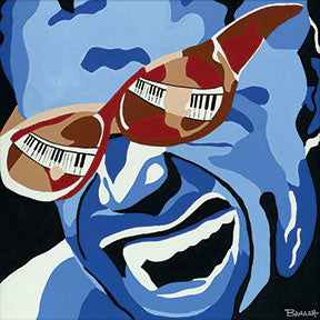 RAY CHARLES ~ SHADED KEYS ~ CANVAS PRINT ~ 12x12